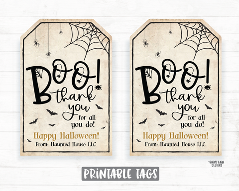Boo Thank you for all you do tag Halloween Appreciation Teacher Staff Employee School Halloween Thank you Tag Halloween Gifts Tag Favor Tags