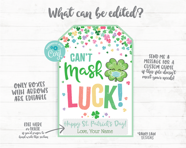 Can't Mask Luck Face Mask Gift Tag St Patrick's Day Tag Employee Appreciation Company Essential Staff Co-Worker Teacher Mask Tag