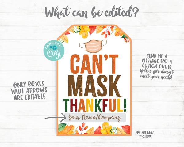 Can't Mask Thankful Face Mask Gift Tag Employee Appreciation Tag Company Essential Worker Staff Corporate Teacher Mask Tag Thanksgiving