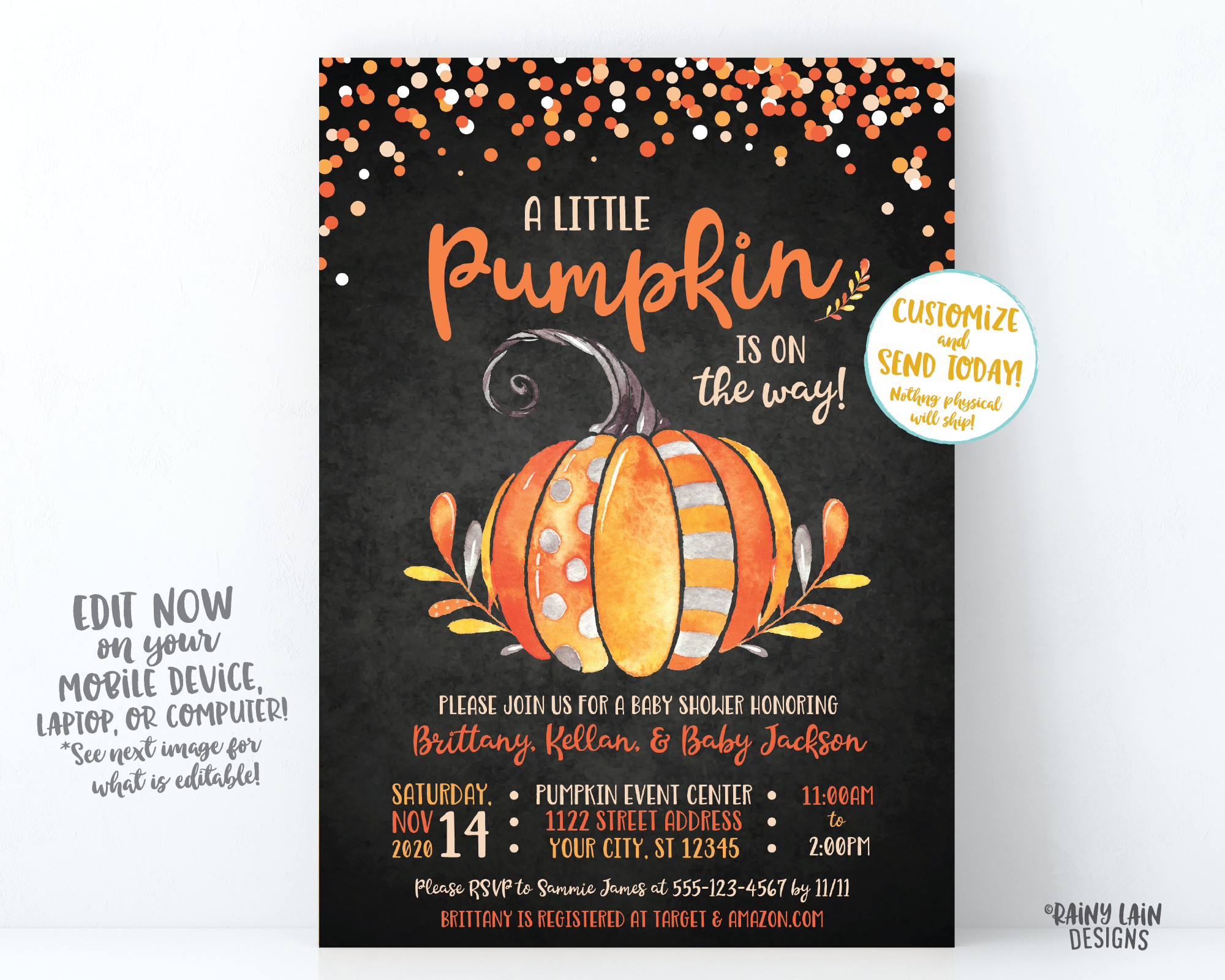 Little Pumpkin Baby Shower Invitation, Fall Baby Shower Invite, Pumpkin Chalkboard Invitation, Fall Leaves, Watercolor Pumpkin Baby Shower