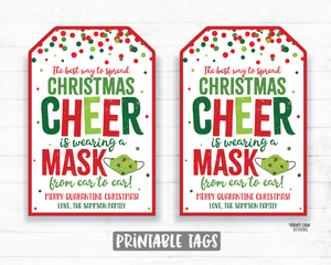 The Best Way to Spread Christmas Cheer is Wearing a Mask from Ear to Ear Face Mask Gift Tag Holiday Tags Employee Essential Staff Teacher