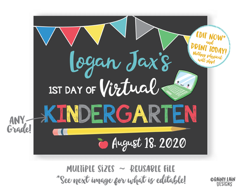 First Day of School Sign Editable Template 1st day of Kindergarten Preschool Pre-K 1st 2nd 3rd 4th 5th Back to School Chalkboard Photo Prop