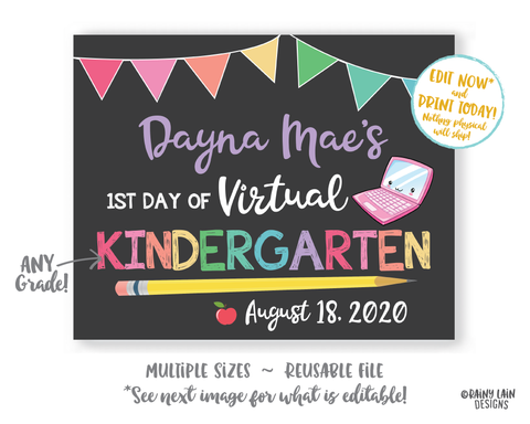First Day of School Sign Template Editable 1st day of Kindergarten Preschool Pre-K 1st 2nd 3rd 4th 5th Back to School Chalkboard Photo Prop