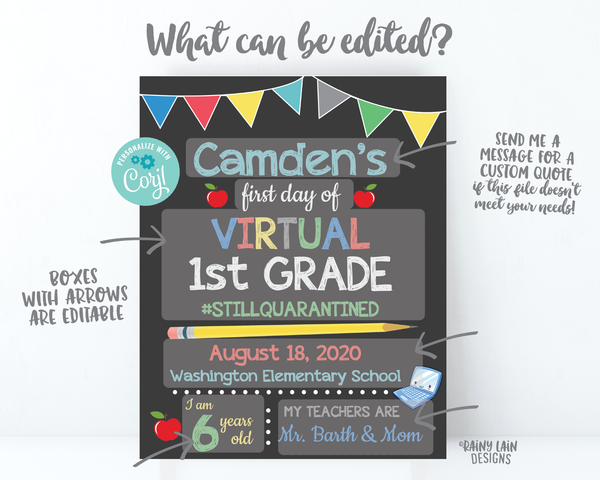 First day of Virtual School Sign Editable 1st Day of Virtual School Sign Template Distance Learning 1st Grade 2nd, 3rd, 4th, 5th, e-Learning
