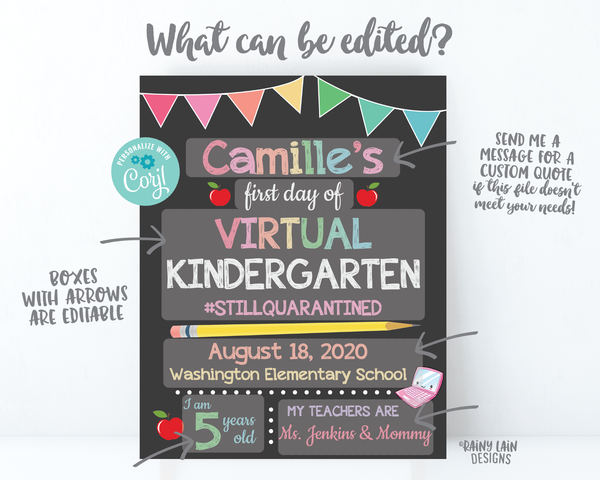 1st day of Virtual School Sign Editable First Day of Virtual School Sign Template Distance Learning, e-Learning 1st Grade 2nd, 3rd, 4th, 5th