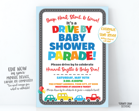 Drive By Baby Shower Invitation Boy Drive By Baby Shower Invite, Boy Baby Shower Drive By Parade, Social Distancing Baby Shower Car Parade