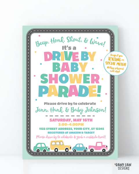 Drive By Baby Shower Invitation Neutral Drive By Baby Shower Invite Gender Neutral Baby Shower Drive By Parade Social Distancing Baby Shower