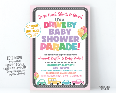 Drive By Baby Shower Invitation Girl Drive By Baby Shower Invite, Boy Baby Shower Drive By Parade, Social Distancing Baby Shower Car Parade