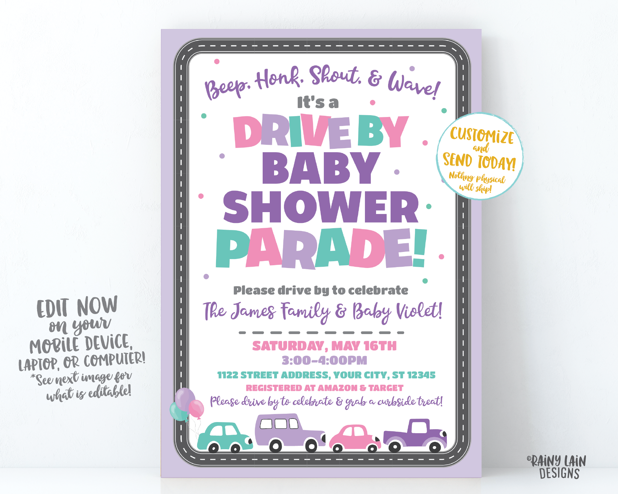 Drive By Baby Shower Invitation Purple Drive By Baby Shower Invite Girl Baby Shower Drive By Parade Social Distancing Baby Shower Car Parade