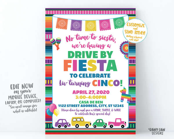 Drive By Fiesta Invitation, Drive By Party, Fiesta Drive By Invite, Social Distancing, Drive By Birthday Invitation, Stay at Home Party