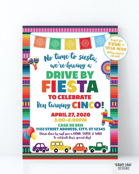 Drive By Fiesta Invitation, Fiesta Drive By Invite, Drive By Party, Social Distancing, Drive By Birthday Invitation, Stay at Home Party