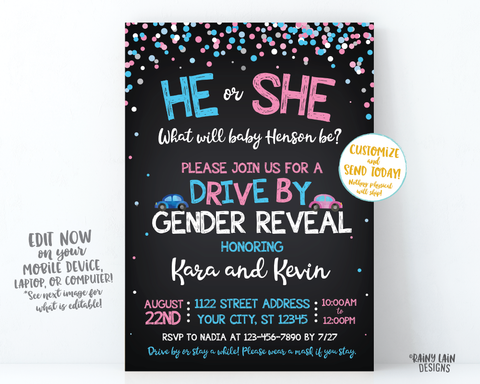Drive By Gender Reveal Invitation Gender Reveal Drive By Parade Gender Reveal Drive By Invite Through Gender Reveal Invite Social Distancing