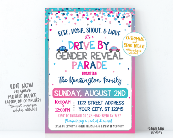 Gender Reveal Drive By Parade Invitation Gender Reveal Drive By Gender Reveal Invite Drive Through Gender Reveal Invite Social Distancing