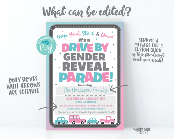 Drive By Gender Reveal Invitation Gender Reveal Drive By Invite Gender Reveal Drive By Parade Social Distancing Through Gender Reveal Invite