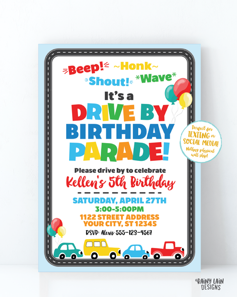 Drive By Birthday Parade Invitation, Drive By Party Invite, Social Distancing Party, Drive By Parade Boy Drive By Party Stay at Home Party