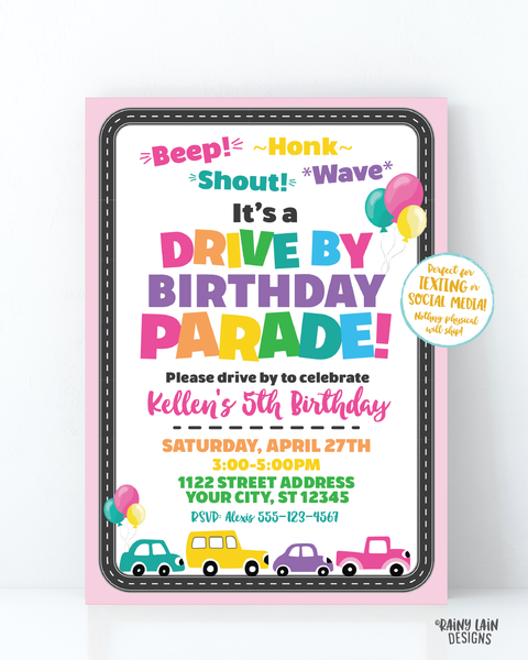 Drive By Birthday Parade Invitation, Drive By Parade Girl Drive By Party, Drive By Party Invite, Social Distancing Party, Stay at Home Party
