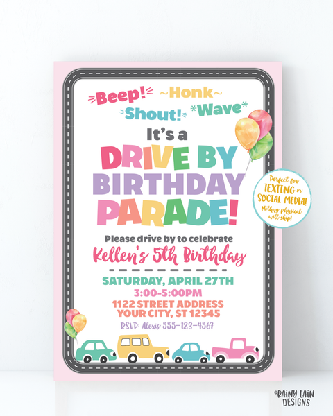 Drive By Birthday Parade Invitation, Drive By Party Invite, Social Distancing Party, Drive By Parade Girl Drive By Party Stay at Home Party