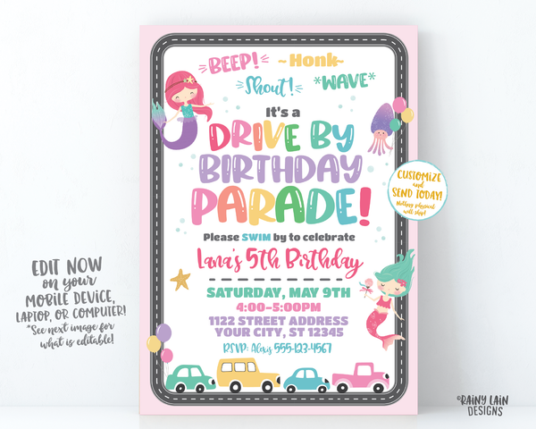 Mermaid Drive By Birthday Invitation Drive By Mermaid Birthday Invite, Drive By Parade Invite, Under the Sea, Social Distancing Stay at Home Party