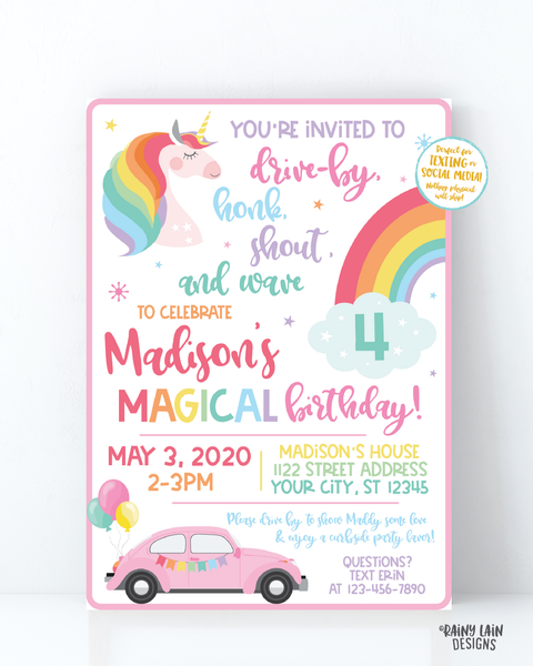 Unicorn Drive By Birthday Invitation Drive By Unicorn Birthday Invite, Drive By Parade Invite, Rainbow, Social Distancing Stay at Home Party