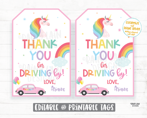 Unicorn Drive By Birthday Tag Drive By Unicorn Birthday Favor Tags, Drive By Parade Unicorn Tags, Rainbow, Thanks for Driving By Tags