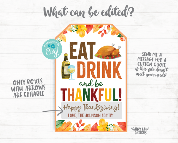 Eat Drink and Be Thankful Gift Tag Thanksgiving Tags Employee Appreciation Staff Teacher Thank you Printable Thanksgiving Favor Tag Hostess