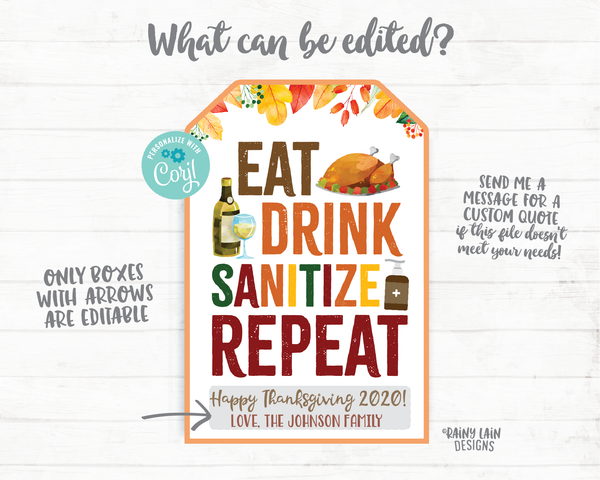 Eat Drink Sanitize Repeat Gift Tag Thanksgiving Tags 2020 Employee Appreciation Staff Teacher Thank you Printable Thanksgiving Favor Hostess