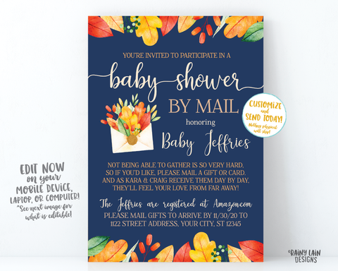 Fall Baby Shower By Mail Invitation, Autumn Baby Shower By Mail, Fall Leaves, Autumn Leaves, Navy Blue, Boy Baby Shower By Mail, Fall Boy