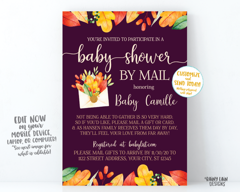 Fall Baby Shower By Mail Invitation, Autumn Baby Shower By Mail, Fall Leaves, Autumn Leaves, Plum, Purple Girl Baby Shower By Mail Fall Girl