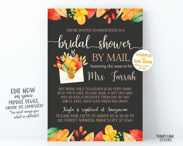 Fall Bridal Shower By Mail Invitation, Autumn Bridal Shower By Mail, Fall Leaves, Autumn Leaves, Chalkboard, Wedding Shower By Mail Fall