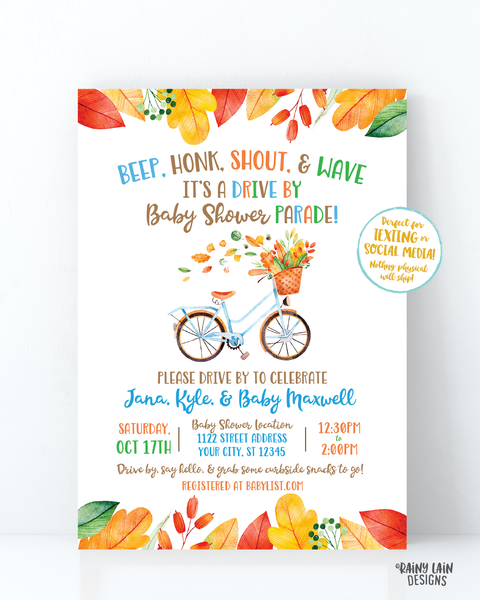 Fall Drive By Baby Shower Invitation Autumn Baby Shower Drive Through Fall Leaves Autumn Leaves Drive Through Boy Drive By Baby Shower Bike
