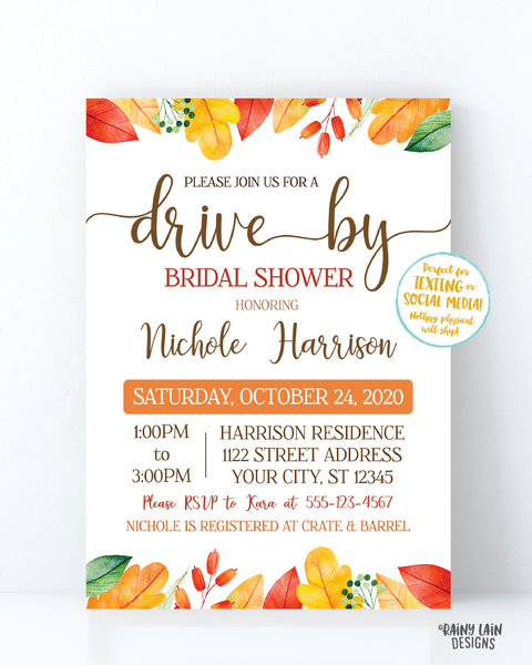 Fall Drive By Bridal Shower Invitation, Autumn Bridal Shower Drive Through Fall Leaves Autumn Leaves Drive Through Wedding Shower Fall
