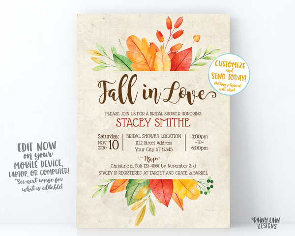 Fall In Love Bridal Shower Invitation, Fall Bridal Shower Invite, Fall Leaves Invitation, Fall In Love Invitation, Rustic Fall Invite Autumn
