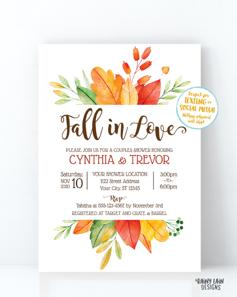 Fall In Love Couples Shower Invitation, Fall Couples Shower Invite, Fall Leaves Invitation, Fall In Love Invitation, Rustic Autumn Invite