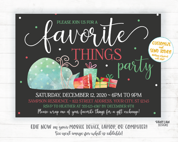 Favorite Things Party Invite, Christmas party invitation, holiday party invite Favorite Things Invitation Favorite things exchange, presents