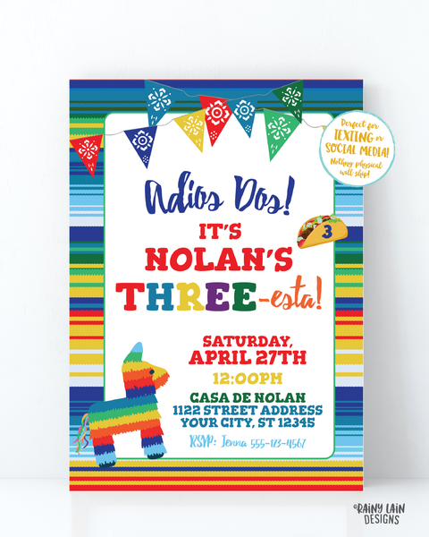 Three-esta Birthday Invitation Boy Three esta Invitation, Adios Dos Invitation, 3rd Birthday Fiesta Invitation Cactus, Serape, THREEesta