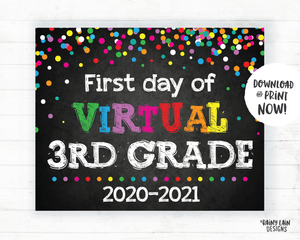 First Day of Virtual 3rd grade Sign, Virtual School Sign, E-Learning, Online School, Distance Learning, Home School, First Day of School