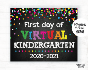 First Day of Virtual Kindergarten Sign, Virtual School Sign, E-Learning, Online School, Distance Learning, Home School, First Day of School