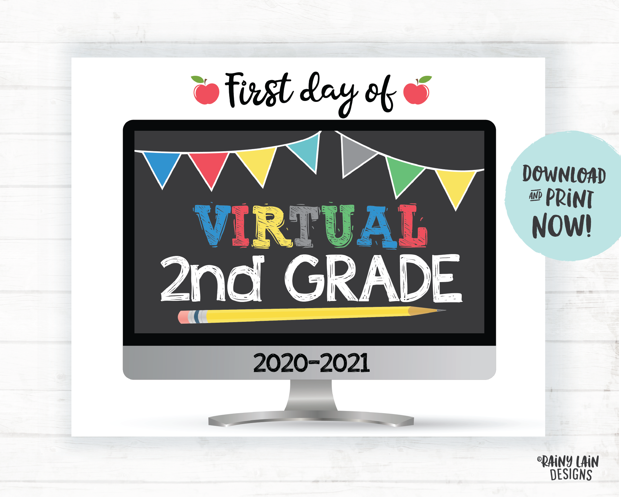 First Day of Virtual 2nd Grade Sign, First Day of Distance Learning Sign, Virtual School Sign, E-Learning Sign, Online School, Home School