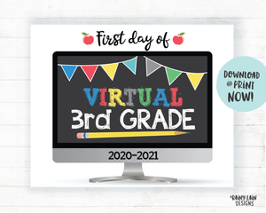 First Day of Virtual 3rd Grade Sign, First Day of Distance Learning Sign, Virtual School Sign, E-Learning Sign, Online School, Home School