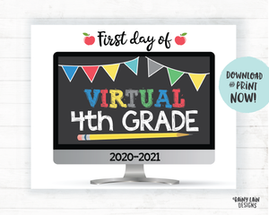 First Day of Virtual 4th Grade Sign, First Day of Distance Learning Sign, Virtual School Sign, E-Learning Sign, Online School, Home School