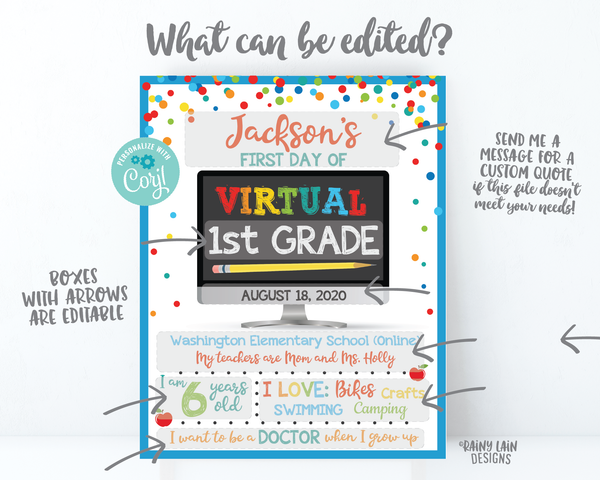 Copy of First Day of Virtual School Sign Template 1st day of virtual school sign editable Back to School Photo Prop virtual 1st grade, 2nd grade 3rd, Kindergarten