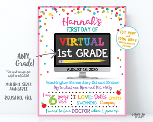 First Day of Virtual School Sign Template 1st day of virtual school sign editable Back to School Photo Prop virtual 1st grade, 2nd grade 3rd