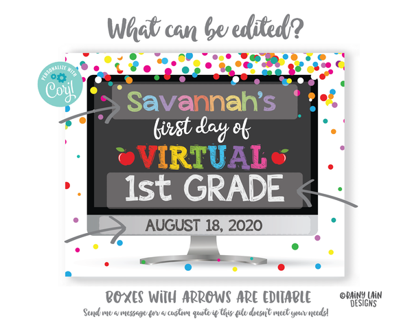 First Day of Virtual School Sign Template 1st day of virtual school sign editable Back to School Photo Prop Keepsake E-Learning Distance