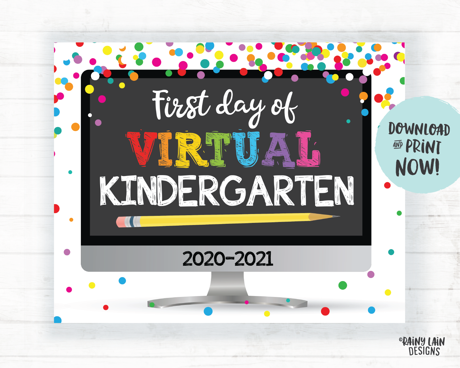 First Day of Virtual Kindergarten Sign, Virtual School Sign, First Day of School Distance Learning, E-Learning, Online School, Home School