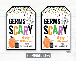 Germs are Scary Tag, Safe and Clean Halloween Tags Printable Halloween Tag Editable Hand Sanitizer Tags Halloween 2020 Ideas Gift tags favor