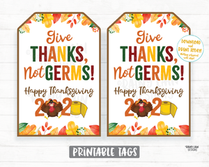 Give Thanks Not Germs Tags Happy Thanksgiving 2020 Tag Quarantine Social Distancing 2020 Thanksgiving Favor Tag Hand Sanitizer Teacher Staff