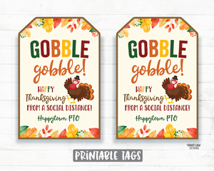 Gobble Gobble Happy Thanksgiving from a Social Distance Thanksgiving 2020 Tag Turkey with Face Mask Gift Tag Appreciation Tag Teacher Staff