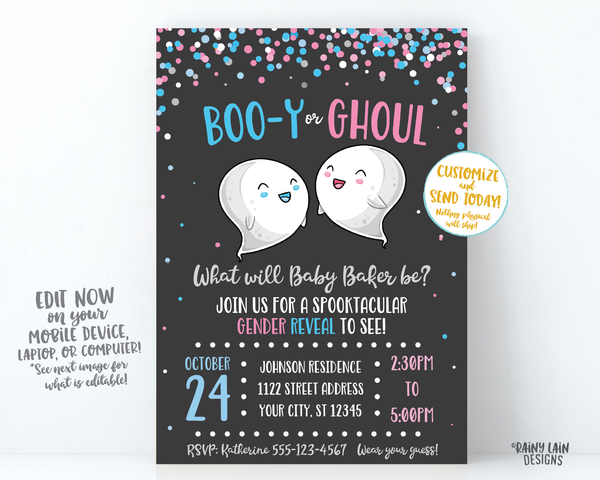 Halloween Gender Reveal Invitation Ghost Gender Reveal Boo-y or Ghoul Gender Reveal Invite pink and blue confetti chalkboard