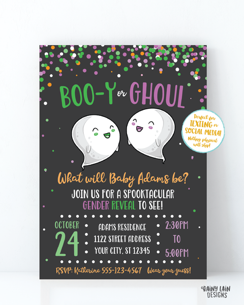 Halloween Gender Reveal Invitation Ghost Gender Reveal Boo-y or Ghoul Gender Reveal Invite Purple and Green confetti chalkboard