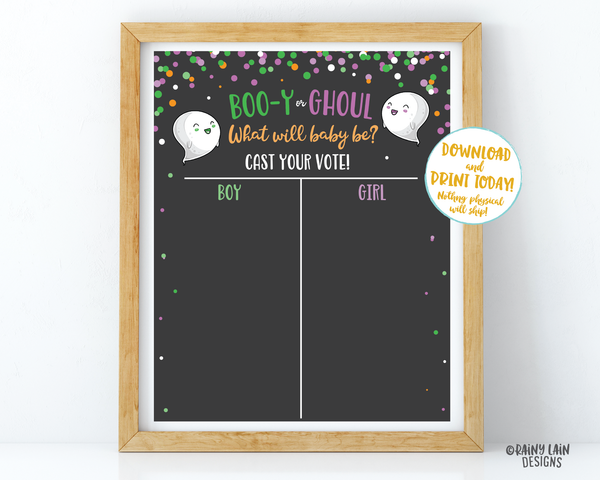 Halloween Gender Voting Sign, Halloween Gender Reveal Vote Poster Booy or Ghoul Gender Reveal Party Ghost Gender Reveal, Ghost Gender Voting